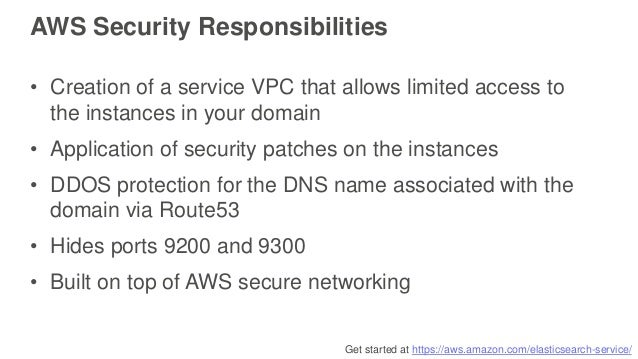 Get started at https://aws.amazon.com/elasticsearch-service/ AWS Security Responsibilities • Creation of a service VPC tha...