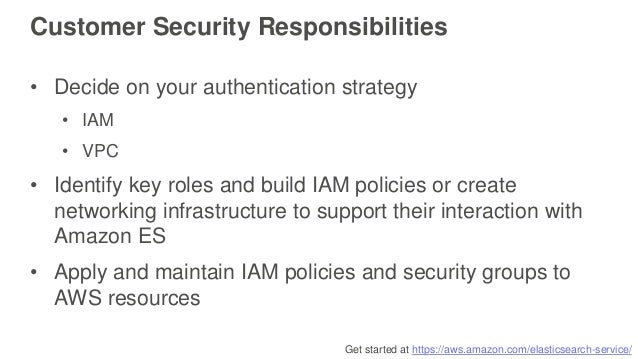 Get started at https://aws.amazon.com/elasticsearch-service/ • Decide on your authentication strategy • IAM • VPC • Identi...