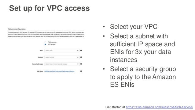 Get started at https://aws.amazon.com/elasticsearch-service/ Set up for VPC access • Select your VPC • Select a subnet wit...