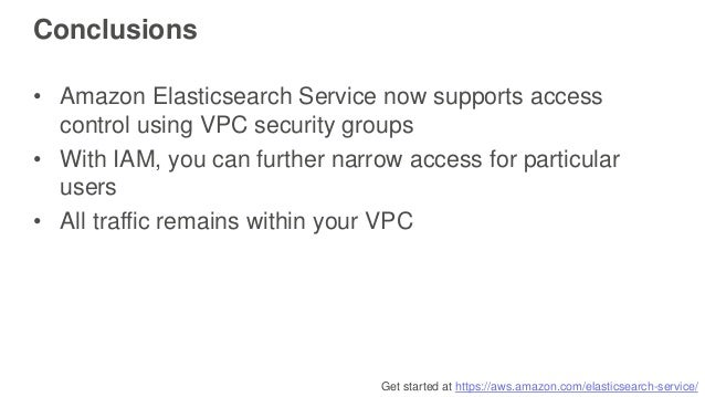 Get started at https://aws.amazon.com/elasticsearch-service/ Conclusions • Amazon Elasticsearch Service now supports acces...