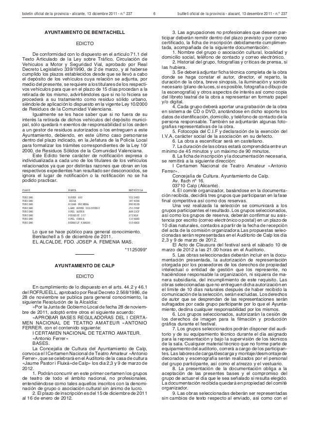 6boletín oficial de la provincia - alicante, 13 diciembre 2011 - n.º 237 butlletí oficial de la província - alacant, 13 de...