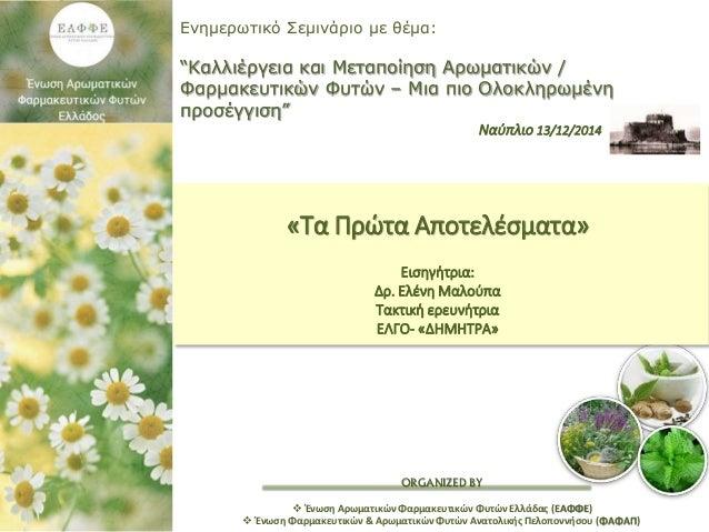 """ORGANIZED BY Ενημερωτικό Σεμινάριο με θέμα: """"Καλλιέργεια και Μεταποίηση Αρωματικών / Φαρμακευτικών Φυτών – Μια πιο Ολοκληρ..."""