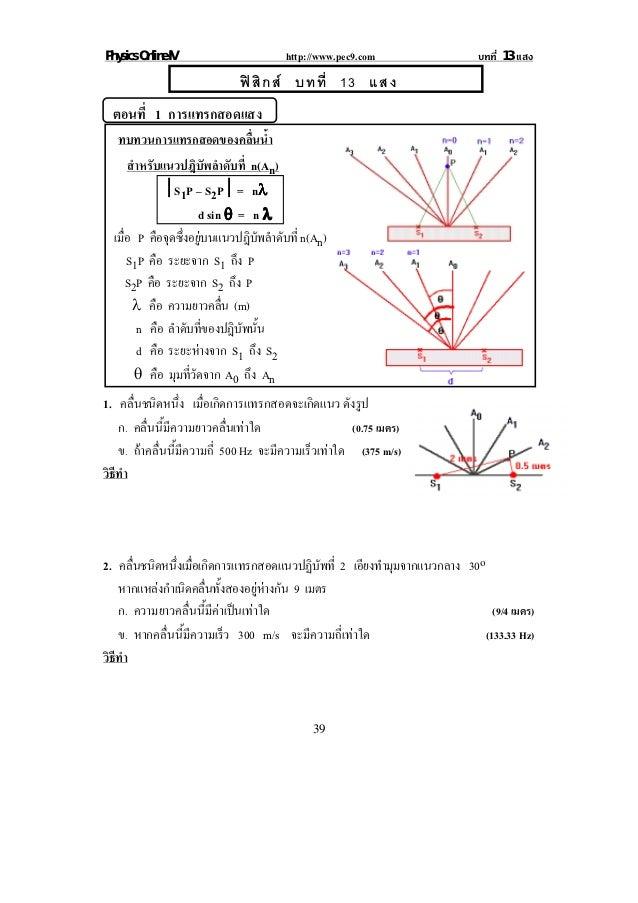 Physics Online IV                       http://www.pec9.com                  บทที่ 13 แสง                              ฟ ...