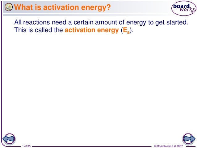 What is activation energy?All reactions need a certain amount of energy to get started.This is called the activation energ...