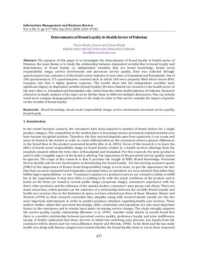 477Information Management and Business ReviewVol. 4, No. 9, pp. 477-486, Sep 2012 (ISSN 2220-3796)Determinants of Brand Lo...