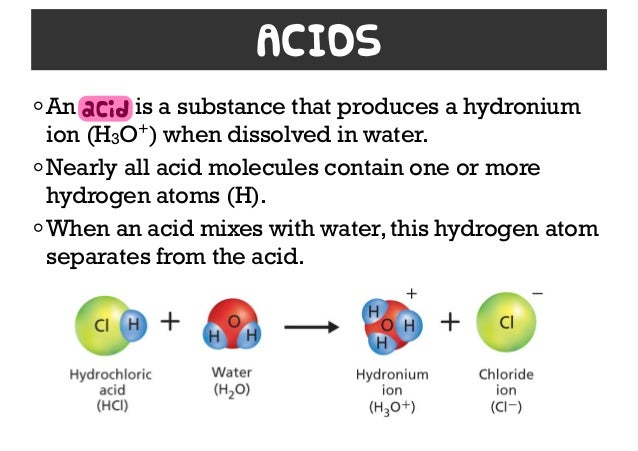 solution acid and base Acids and bases ph reaction titration an acid is a molecule or ion capable of donating a hydron in the special case of aqueous solutions.