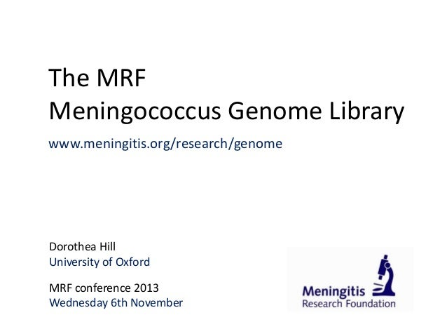 The MRF Meningococcus Genome Library www.meningitis.org/research/genome  Dorothea Hill University of Oxford MRF conference...