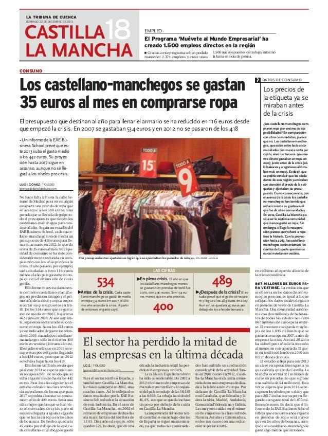 Los castellano manchegos se gastan 35 euros en ropa (La Tribuna de Cuenca)