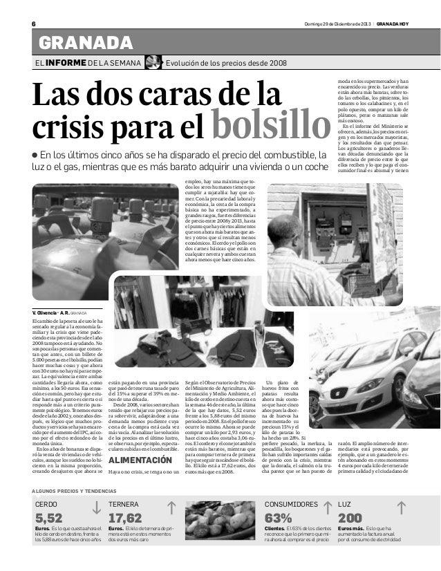 6  Domingo 29 de Diciembre de 2013 | GRANADA HOY  GRANADA EL INFORME DE LA SEMANA  Evolución de los precios desde 2008  La...