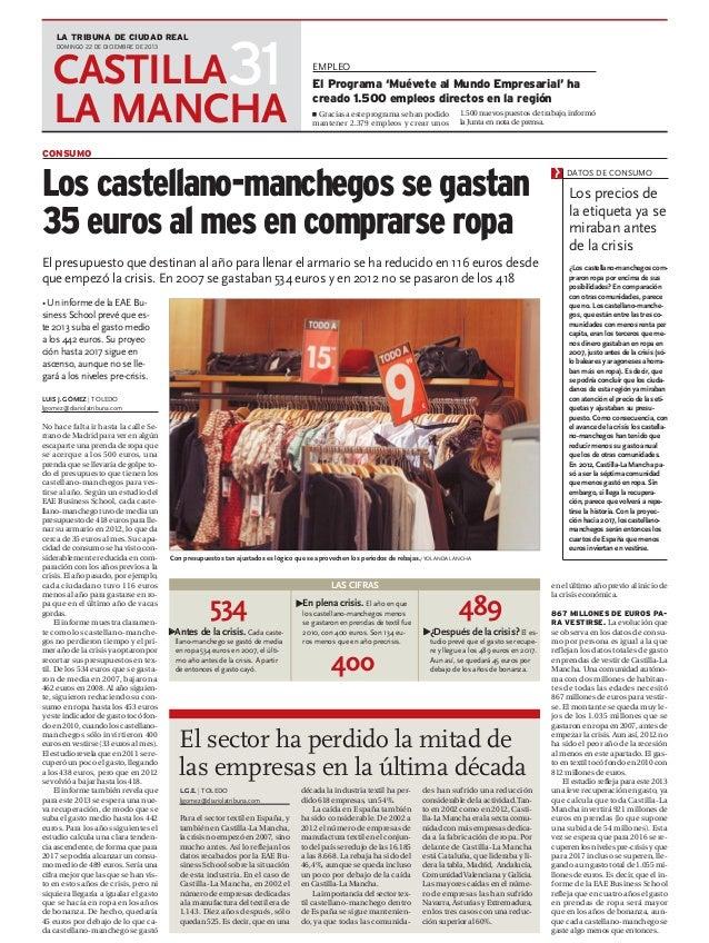 Los castellano manchegos se gastan 35 euros en ropa (La Tribuna de Ciudad Real)