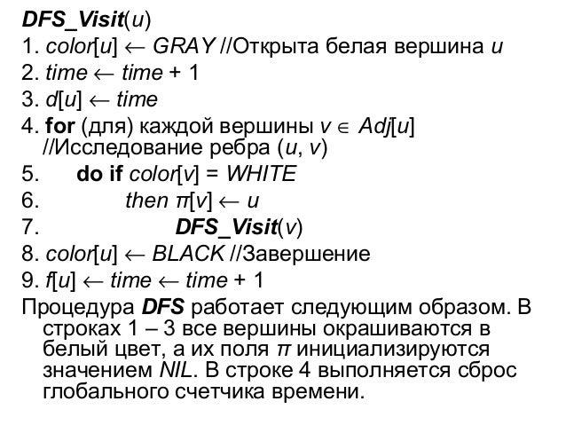 DFS_Visit(u) 1. соlоr[u] ← GRAY //Открыта белая вершина u 2. time ← time + 1 3. d[u] ← time 4. for (для) каждой вершины v ...