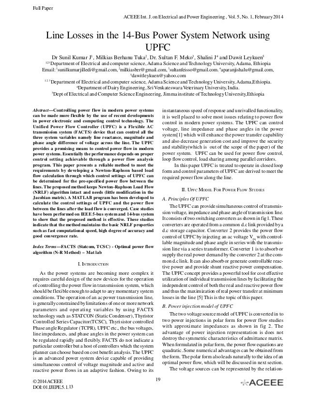 Full Paper ACEEE Int. J. on Electrical and Power Engineering , Vol. 5, No. 1, February 2014  Line Losses in the 14-Bus Pow...