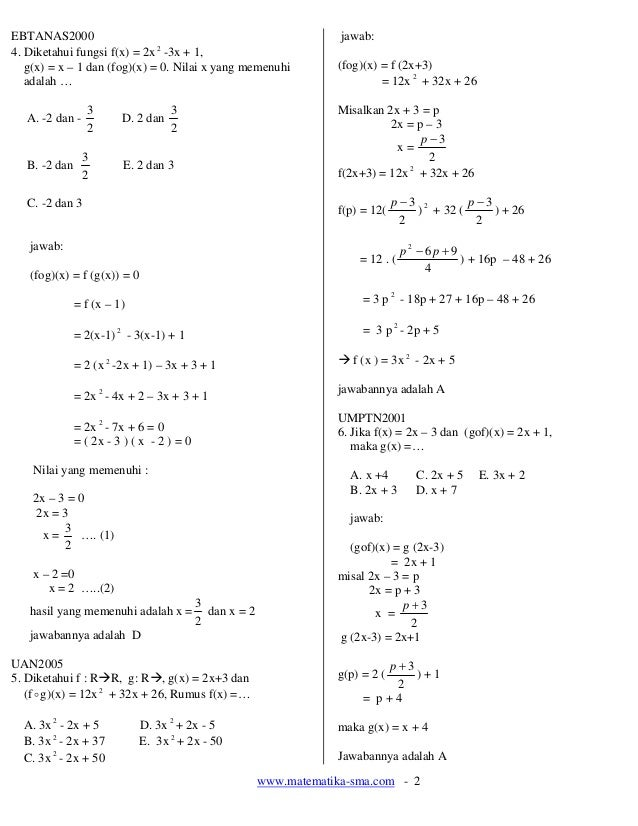 13. soal soal fungsi komposisi dan fungsi invers Slide 2