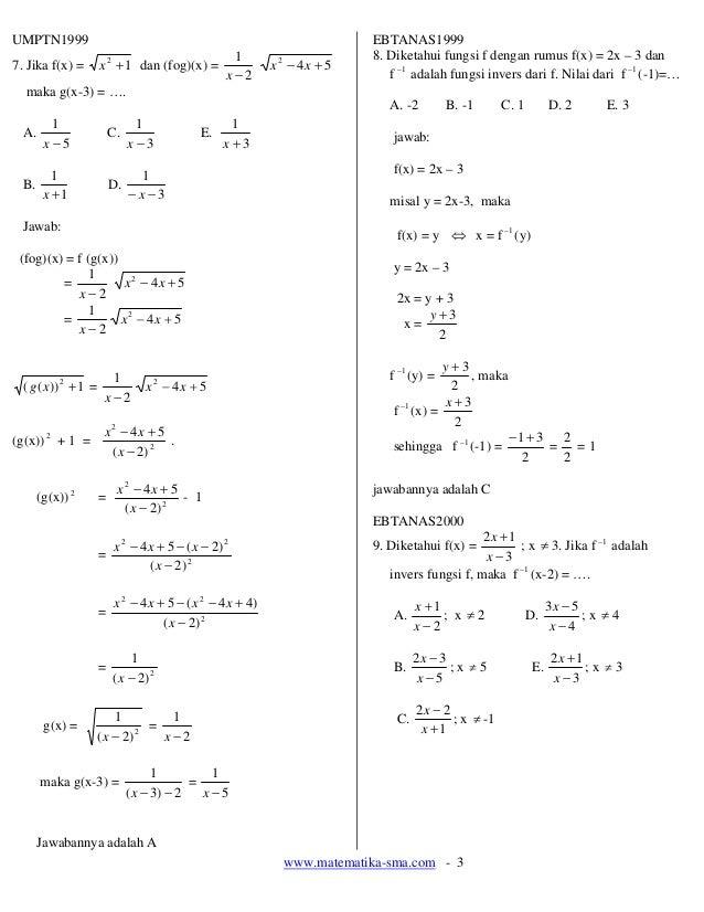 13. soal soal fungsi komposisi dan fungsi invers Slide 3