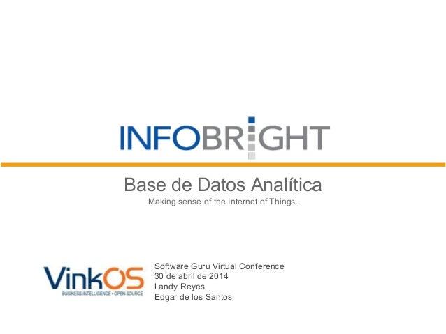 Base de Datos Analítica Making sense of the Internet of Things. Software Guru Virtual Conference 30 de abril de 2014 Landy...