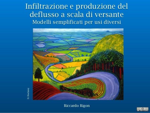 Infiltrazione e produzione del deflusso a scala di versante Modelli semplificati per usi diversi Riccardo Rigon D.Hockney
