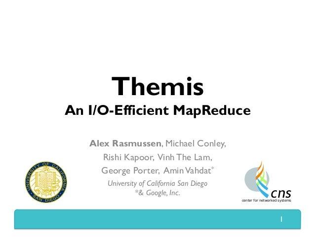 Themis An I/O-Efficient MapReduce Alex Rasmussen, Michael Conley, Rishi Kapoor, Vinh The Lam, George Porter, AminVahdat* U...