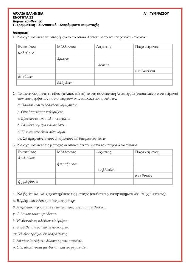 ΑΡΧΑΙΑ ΕΛΛΗΝΙΚΑ Α΄ ΓΥΜΝΑΣΙΟΥ ΕΝΟΤΗΤΑ 13 Δάμων και Φιντίας Γ. Γραμματική - Συντακτικό : Απαρέμφατα και μετοχές Ασκήσεις 1. ...