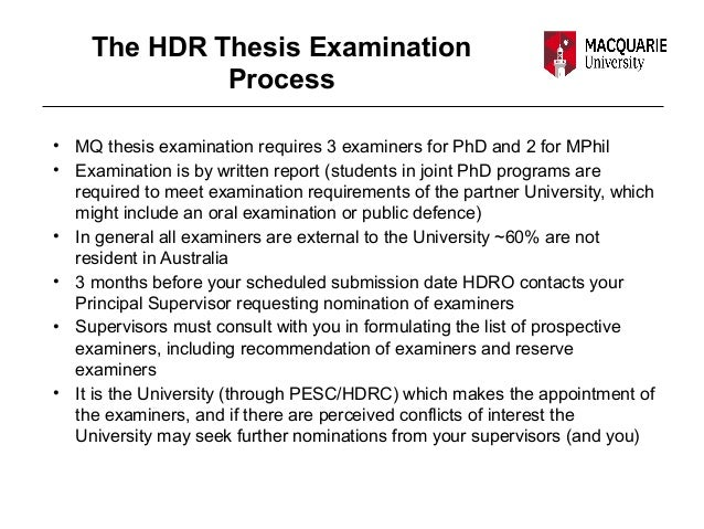 Thesis and examinations