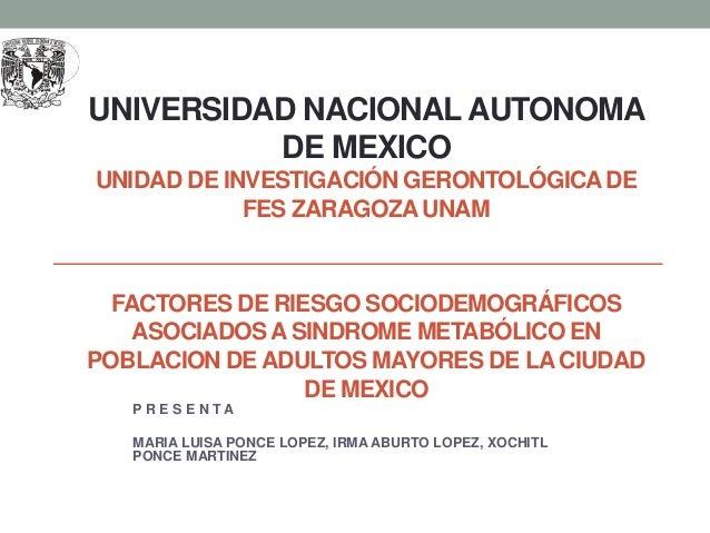 UNIVERSIDAD NACIONALAUTONOMA DE MEXICO UNIDAD DE INVESTIGACIÓN GERONTOLÓGICADE FES ZARAGOZA UNAM FACTORES DE RIESGO SOCIOD...