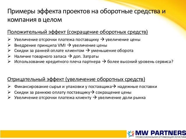 Примерыэффектапроектовнаоборотныесредстваи компаниявцелом Положительныйэффект(сокращениеоборотныхсредств) Ø...