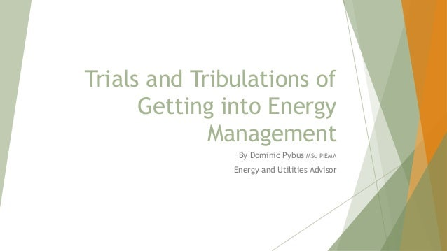 Trials and Tribulations of Getting into Energy Management By Dominic Pybus MSc PIEMA Energy and Utilities Advisor