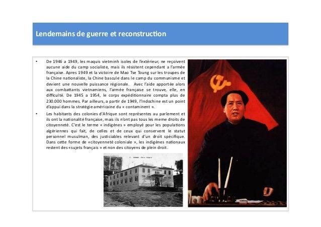 Lendemains  de  guerre  et  reconstruc)on   • De  1946  a  1949,  les  maquis  vietminh  isoles ...