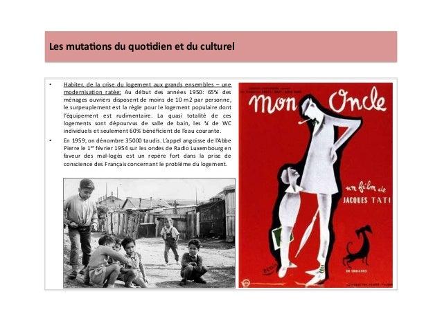 Les  muta)ons  du  quo)dien  et  du  culturel   • Habiter,  de  la  crise  du  logement  aux  ...