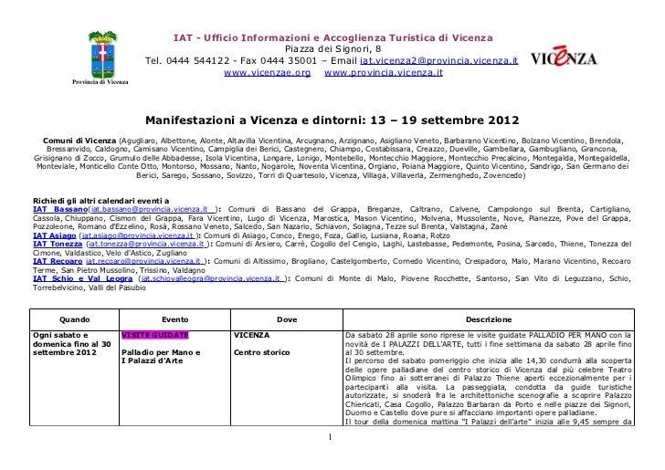 IAT - Ufficio Informazioni e Accoglienza Turistica di Vicenza                                                            P...