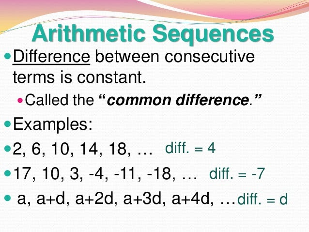 Arithmetic Sequences ...