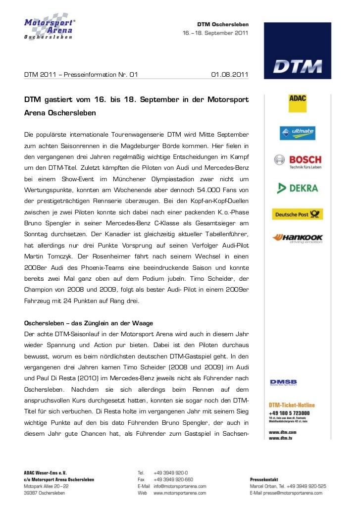 DTM 2011 – Presseinformation Nr. 01                              01.08.2011DTM gastiert vom 16. bis 18. September in der M...