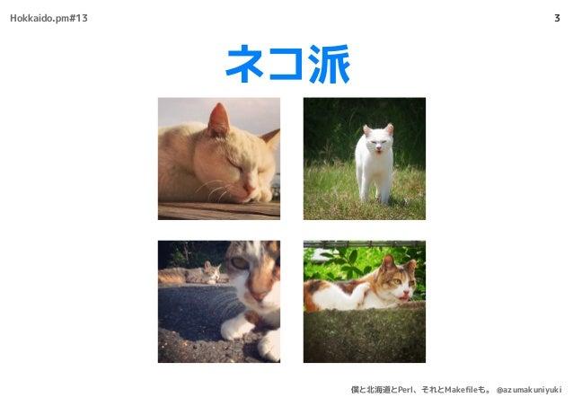 ネコ派 3Hokkaido.pm#13 僕と北海道とPerl、それとMakefileも。 @azumakuniyuki