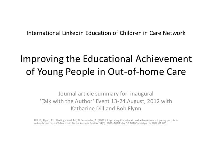 International Linkedin Education of Children in Care NetworkImproving the Educational Achievement of Young People in Out-o...