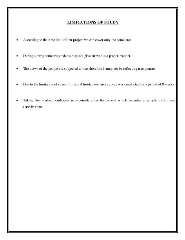 Scope and limitation case study