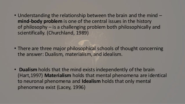 an analysis of the mind brain problem concerning dualism and materialism Laura weed takes us on a tour of the mind/brain controversy  i will begin with a  very brief summary of each of those positions before i describe  neurological  reductivist materialism, supervenience theories, and naturalistic dualism.