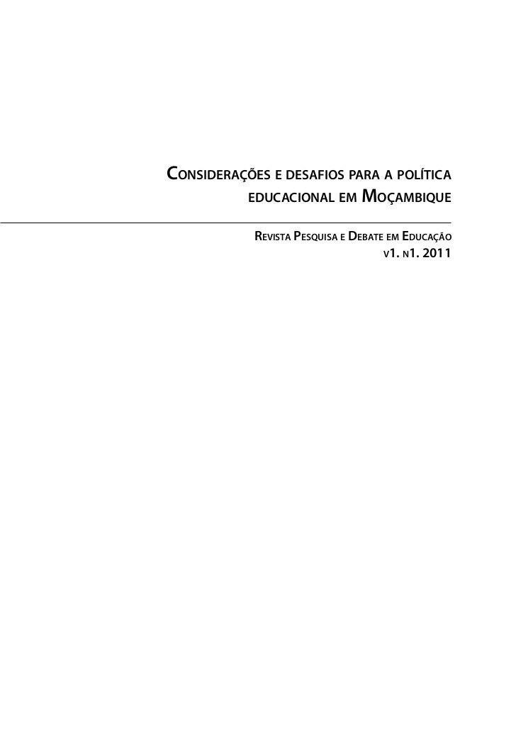Considerações e desafios para a política          educacional em Moçambique            Revista Pesquisa e Debate em Educaç...