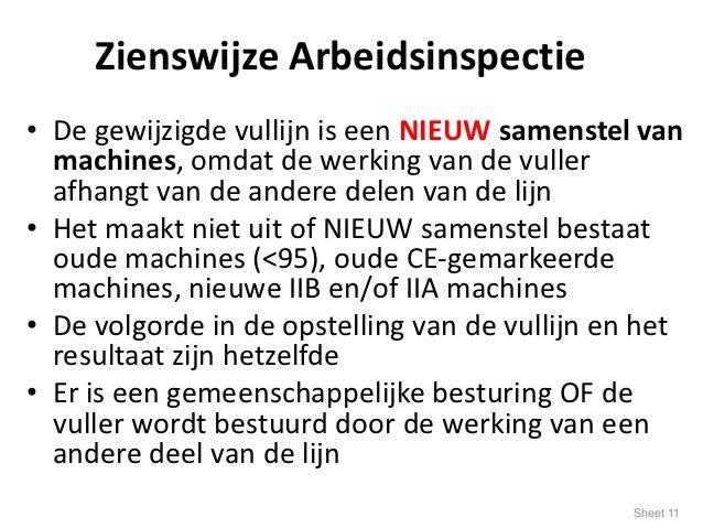 Zienswijze Arbeidsinspectie• De gewijzigde vullijn is een NIEUW samenstel van  machines, omdat de werking van de vuller  a...
