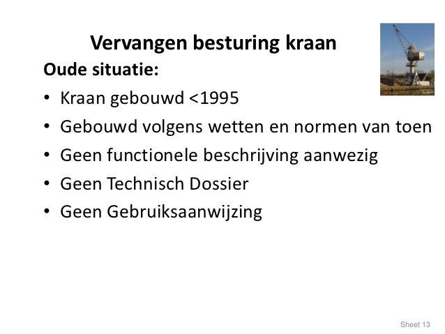 Vervangen besturing kraanOude situatie:• Kraan gebouwd <1995• Gebouwd volgens wetten en normen van toen• Geen functionele ...