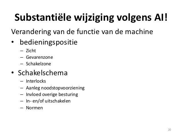 Substantiële wijziging volgens AI!Verandering van de functie van de machine• bedieningspositie  – Zicht  – Gevarenzone  – ...