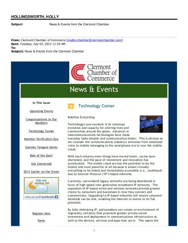 1 HOLLINGSWORTH, HOLLY Subject: News & Events from the Clermont Chamber From: Clermont Chamber of Commerce [mailto:chamber...