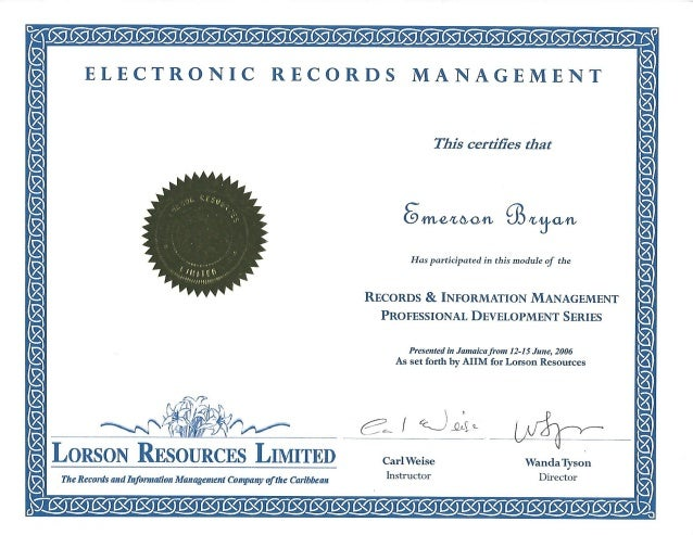 certificate electronic management records slideshare upcoming emerson