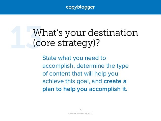 ©2015 COPYBLOGGER MEDIA LLC What's your destination (core strategy)? State what you need to accomplish, determine the type...