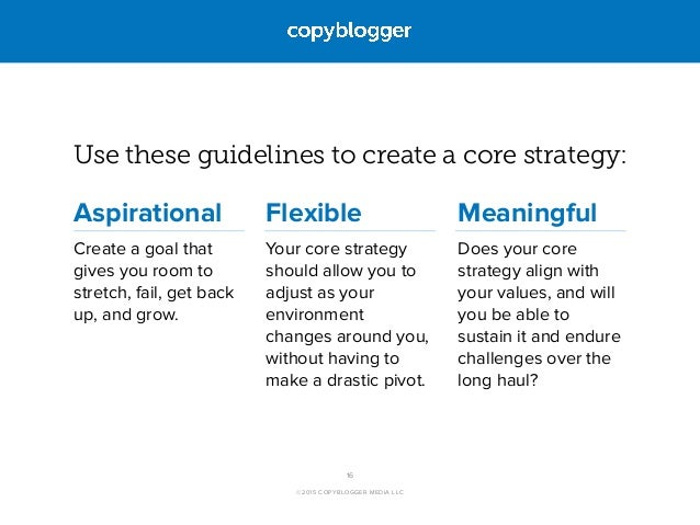 ©2015 COPYBLOGGER MEDIA LLC Use these guidelines to create a core strategy: Aspirational Create a goal that gives you room...