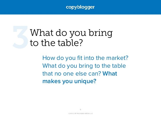 ©2015 COPYBLOGGER MEDIA LLC What do you bring  to the table? How do you fit into the market? What do you bring to the tab...