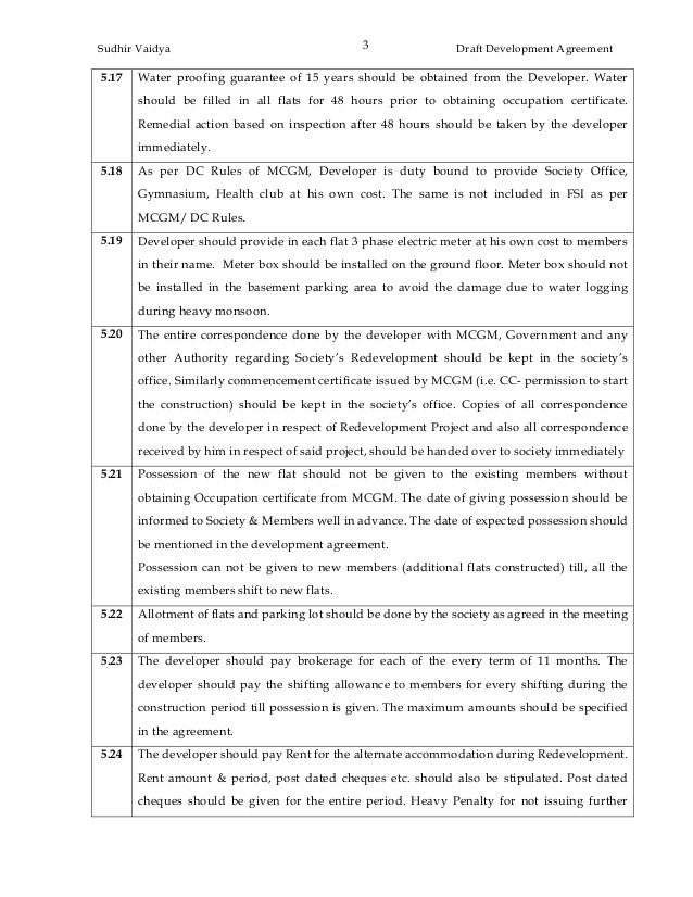 13 Development Agreement - Precautions To Be Taken By The Society