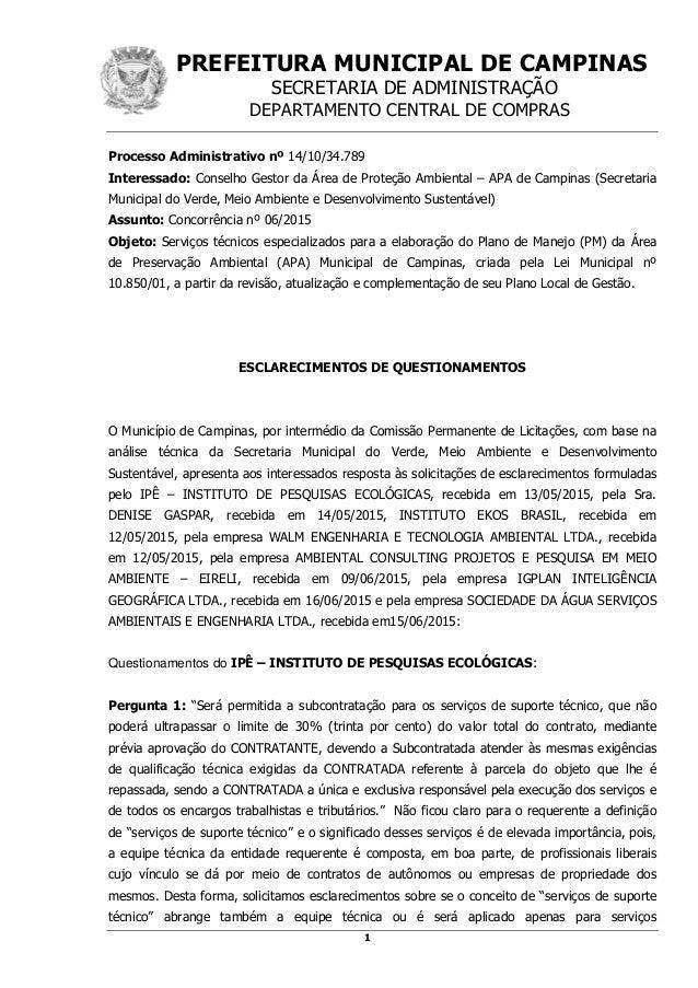 PREFEITURA MUNICIPAL DE CAMPINAS SECRETARIA DE ADMINISTRAÇÃO DEPARTAMENTO CENTRAL DE COMPRAS 1 Processo Administrativo nº ...