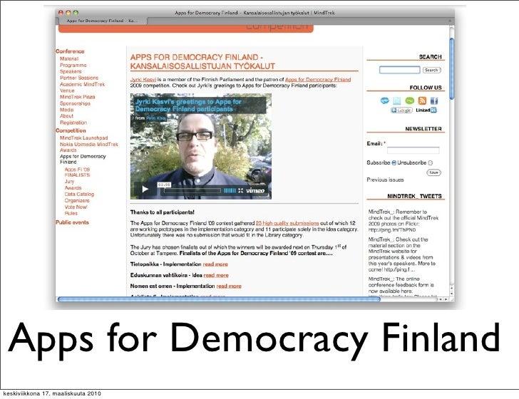 Apps for Democracy Finland keskiviikkona 17. maaliskuuta 2010