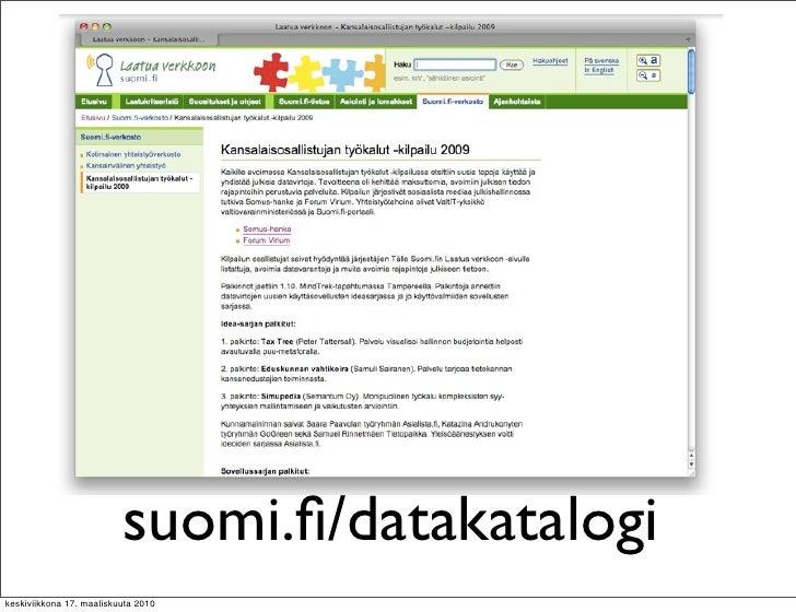 suomi.fi/datakatalogi keskiviikkona 17. maaliskuuta 2010