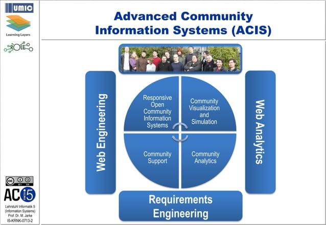 Lehrstuhl Informatik 5 (Information Systems) Prof. Dr. M. Jarke I5-KRNK-0713-2 Responsive Open Community Information Syste...