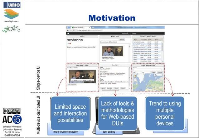 Lehrstuhl Informatik 5 (Information Systems) Prof. Dr. M. Jarke I5-KRNK-0713-4 Motivation Single-deviceUIMulti-devicedistr...